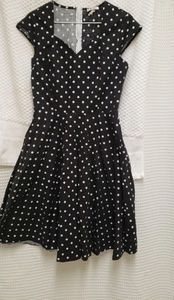 Dresses & Skirts - Black and white polka dot swing dress